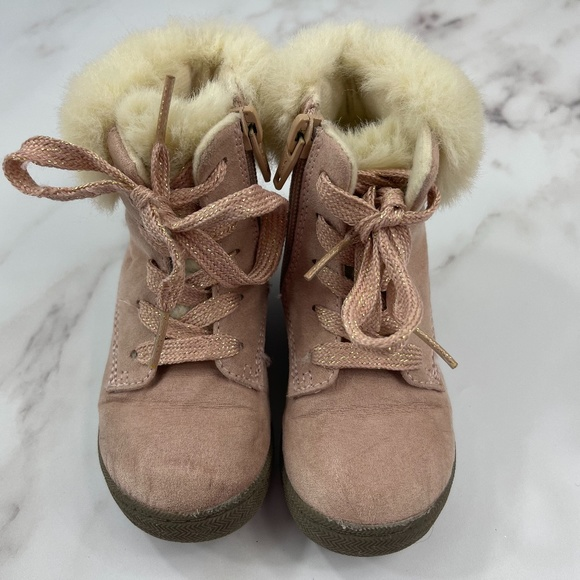 Toddler Girl Cat & Jack Pink Fuzzy Fashion Boots